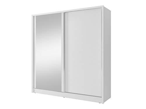 Mirjan24 Kleiderschrank Luca mit Schminktisch, Schwebetürenschrank mit Spiegel, Kleiderstange und Einlegeboden, Garderobenschrank, Schlafzimmerschrank, Flurschrank, Dielenschrank (Weiß)