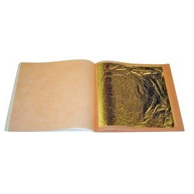 100 feuilles d/' or XL 8.5 Cm 24 K Carats Veritable Gold Leaf paper sheets
