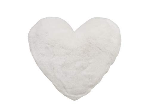 Kissen Herz Herzkissen 40 x 30 cm weich plüsch Dekokissen Sofakissen (Weiß)