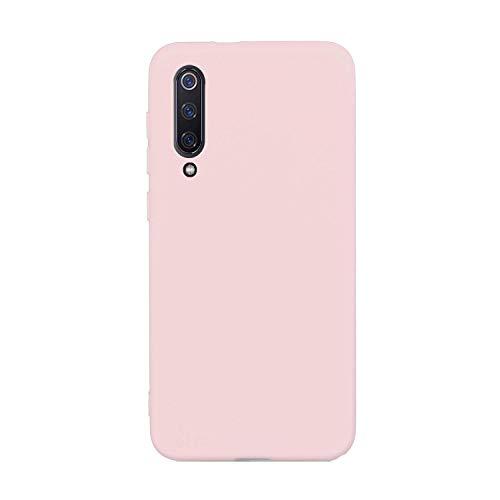 CUZZCASE Funda para Xiaomi Mi 9 SE+{Protector de Pantalla de Vidrio Templado} Carcasa Silicona Suave Gel Rasguño y Resistente Teléfono Móvil Cover-Rosa Claro