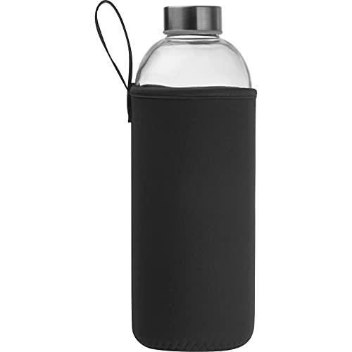 Glasflasche 1l mit Neoprenhülle | Trinkflasche aus Glas mit Schutzhülle und Schraubverschluss | Wasserflasche aus Glas für Fitness, Arbeit, Schule, Uni, Wandern | spülmaschinenfest | Schwarz