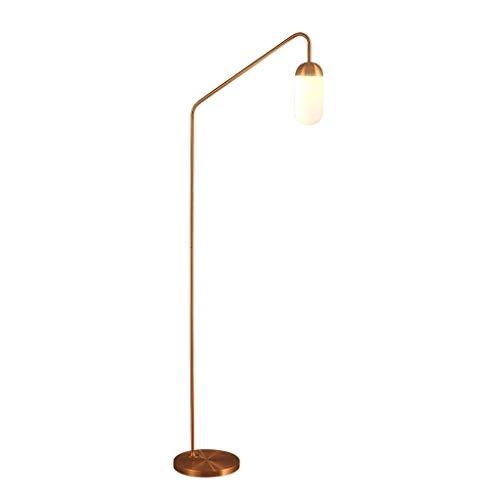 HY-WWK Stehlampe Minimalistische Stehlampe, Wohnzimmer Schlafzimmer Arbeitszimmer Glasschirm Stehlampe (Farbe: Roségold),Roségold