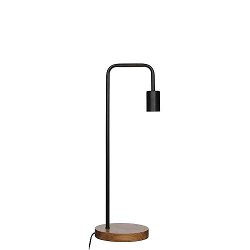 Mica Decorations bureaulamp bureaulamp Preston zwart metaal met houten voet - bureaulamp - tafellamp - bedlampje