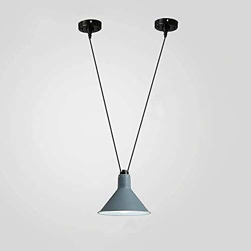 n.g. Wohnzimmerzubehör Eisen Doppelsaugnapf Pendelleuchten Nordic Led Lampe Weihnachten s für Zuhause Beleuchtung Lampen für Wohnzimmer Holz E27 Hängelampen 200 cm Aufhängedraht (Farbe : Blau)