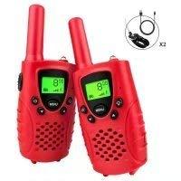 Debonice Walkie Talkie Kinder RMR 446 LC-Display Vox 8 mit USB-Laden Taschenlampe Funkgerät 2pcs (Rot)