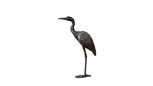 Steinfiguren Horn Graureiher aus Bronze, Tierfigur für Garten & Teich, Reiher, Fischreiher