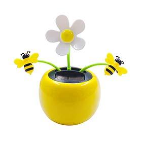 daffodilblob Creative Solar Power Desk Toy, Dancing Flower Bee Car Ornament Flip Flap Pot Swing Plastic