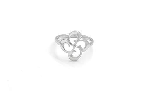 Talisman Jewellery - Anillo de Plata Rodiada con Lauburu Central Troquelado - CONFIRMAR DISPONIBILIDAD de Tallas Antes de Comprar - (16)
