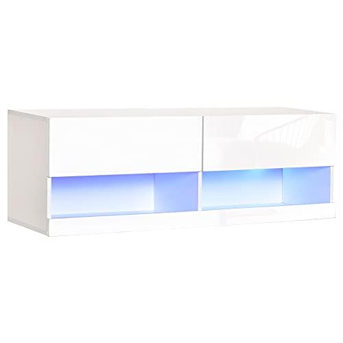 homcom Mobile TV Sospeso in Legno, Mobile Porta TV Moderno con Luci LED di 20 Colori, per TV Max. 42 , Bianco Lucido, 120x35x40.5cm
