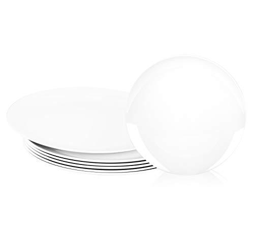 Melamine Plates, 10.5-inch Dinner Plates Dinnerware Dish, set of 6 White | 100% Melamine, Dishwasher Safe, BPA Free