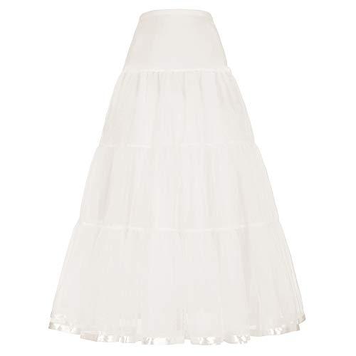 GRACE KARIN Mujeres Enaguas Cancan para Vestido Largas Rockabilly Beige S