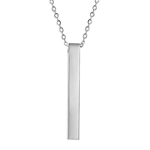Creely Collares de Acero Inoxidable para Hombre Collares de Barra Personalizados Collar de Barra con Colgante de Joyas para Mujer Color Acero