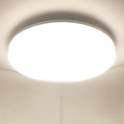 LED Lámpara de Techo Moderna 48W Plafon LED de Techo Ketom Blanco Natural 4500K 4320LM LED Plafón, Ultra Delgado IP44 Luz de Techo Para Dormitorio Baño Cocina Pasillo Comedor Sala, Ø30cm