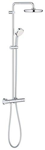 GROHE Tempesta Cosmopolitan | Brause- & Duschsystem - mit Thermostatbatterie, Kopfbrause, Handbrause u. Brauseschlauch | chrom | 27922001