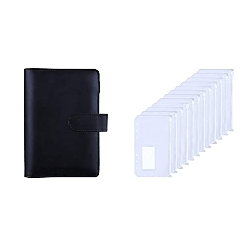 HAUTOCO Black A6 PU Leather Ring Binder Bundle with 12PCS Clear A6 6-Holes Binder Pockets with Label Pocket