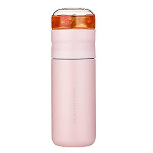qianduo Taza aislada con filtro de acero inoxidable botella de té taza con infusor de vidrio separa té y agua 300 ml