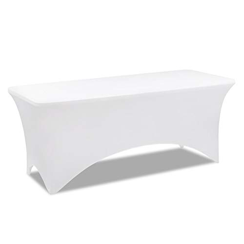 IDMarket - Housse Blanche pour Table Pliante 180 CM