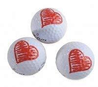 3er Set Herz Golfbälle / Motivgolfbälle / Herzgolfbälle / Geschenk / Valentinstag / Golfgeschenk