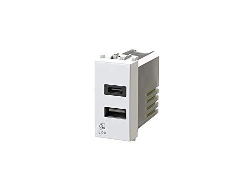 USB3.0 - Alimentatore USB da 3 Ampere a 2 uscite su modulo singolo con connettore di tipo A e tipo C compatibile con Vimar Arkè bianca