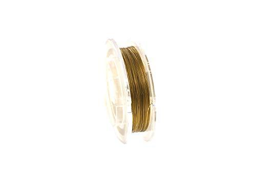 Creative-Beads Edelstahldraht, Stahlseil, 0,5mm, Schmuckdraht für Kette, Armband, nylon ummantelt hautverträglich reißfest, 10m Rolle gold zum Schmuck selbst machen