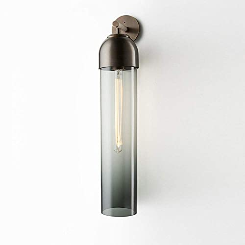 WEM Lámparas de pared, aplique de pared moderno, accesorio de iluminación moderno de metal de cobre, pantalla de tubo de vidrio liso Lámparas de pared de interior simples para dormitorio, mesita de n