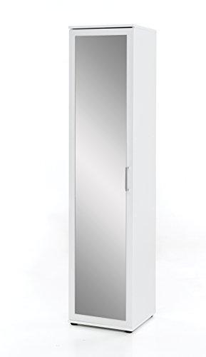 WILMES Dielen- und Allzweckschrank mit 1 Tür und Frontspiegel, Spanplatte, Melamin Dekor Weiß, 40 x 39 x 178 cm