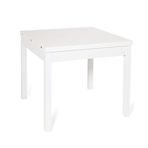 Tavolo da pranzo apribile a libro in legno cm 90x90/180 colore bianco