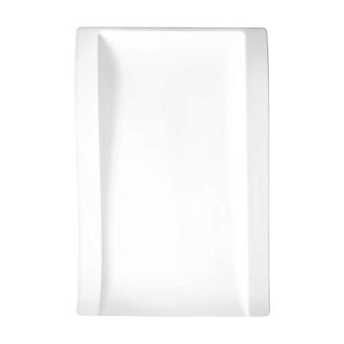 Villeroy & Boch New Wave Flach Teller, Eckig, Porcelain, Weiß, Gourmetteller 37 x 25 cm, 4