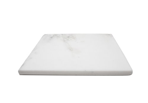 Marble Object Natural Stone 8'' x 8'' Jewelry Tray, Candle Base, Key Tray, Wallet Tray, Office Desk Tray and Trivet with Cork Backing (White Carrara)