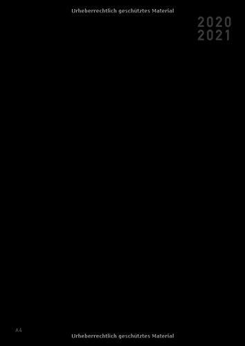 Terminplaner 2020 2021 A4: 18 Monate Wochenplaner A4 von Juli 2020 bis Dezember 2021 – Softcover Tagebuch, 1 Stunden-Intervalle – Planer 2020/2021 – Schwarz - Deutsch Deutsch