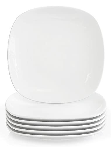 MALACASA, Seria Elisa, 6-częściowy zestaw porcelanowych talerzy obiadowych talerze płaskie 24,6 cm dla 6 osób