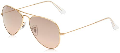 Ray-Ban RB3025 Classic Aviator Sunglasses, Gold/Pink Mirror Gradient, 55 mm