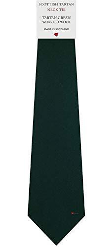 I Luv Ltd Cravate en Laine pour Homme Tissée et Fabriquée en Ecosse à Plain Green Tartan