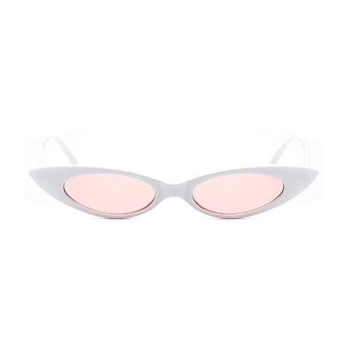 NXMRN Gafas De Sol Gafas De Sol Ovaladas Pequeñas para Mujer Vintage, Gafas De Ojo De Gato, Gafas De Sol Ovaladas Pequeñas Retro, Gafas De Sol para Mujer-Rosa Blanco