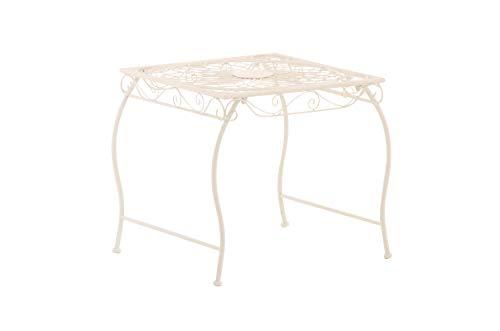 Mesa de Jardín Zarina | Mesa de Exterior en Hierro Forjado I Mesa Cuadrada de Terraza Estilo Rústico I Color:, Color:Blanco