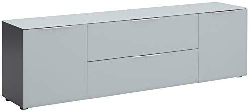 MAJA Möbel Trend Lowboard, Holzwerkstoff melaminharzbeschichtet, anthrazit - Glas seidengrau matt, 180,4 x 53,9 x 40,0 cm
