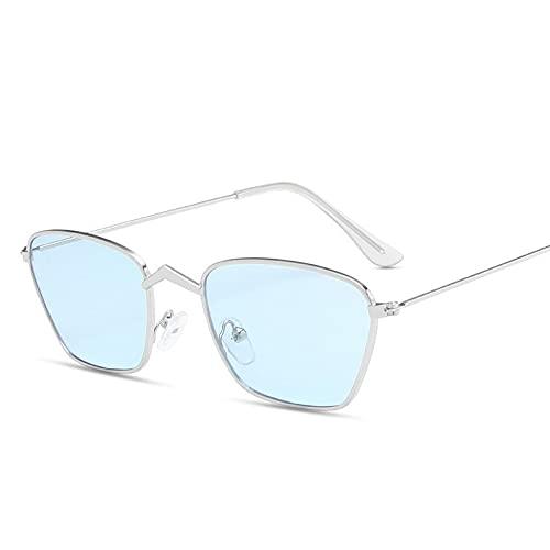 AMFG Gafas de sol cuadradas retro Metal Pequeño marco Gafas de sol Rhombus Ocean Sombrero Parabrisas (Color : K)