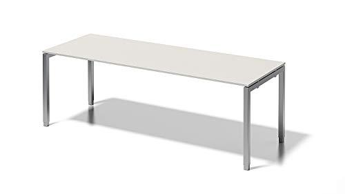 Bisley Cito Schreibtisch, 650-850 mm höheneinstellbares U, H 19 x B 2200 x T 800 mm, Dekor grauweiß, Gestell Silber, Gw355, 80 x 220 x 85 cm