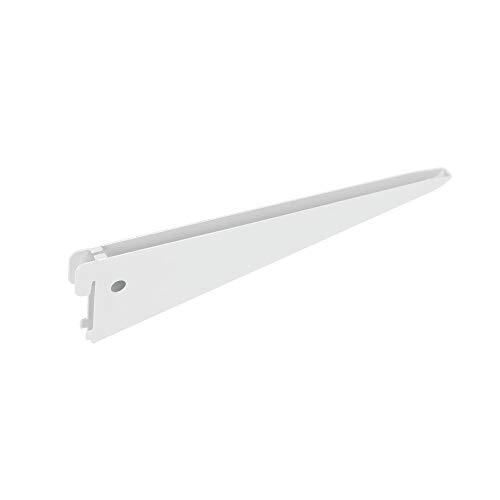 Toolerando Escuadra de estante para perfil cremallera perforación doble/Soporte de estantes para rieles de pared, 2 ganchos/Cartela doble - Longitud: 270 mm, blanco