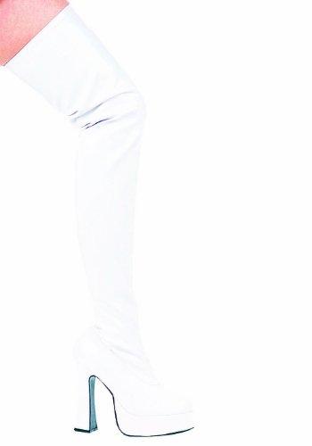Ellie Shoes Damen Thrill Thigh High Boots - Army Polizei Kostüm Schuhe, Weiß 10