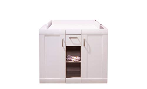 trendteam smart living Babyzimmer Wickelkommode Kommode Landi, 115 x 105 x 79 cm in Pinie Weiß Struktur, Absetzung Pinie Dunkel (Nb.) im Landhausstil