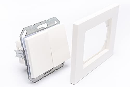 Interruptor de luz empotrado de dos piezas con iluminación, incluye marco, dimensiones 103 mm x 81 mm