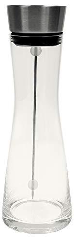 VonBueren Glaskaraffe | Wasserkaraffe | Kanne Karaffe aus Glas | 1 L | mit Fruchtspieß und Edelstahl Deckel mit Kippverschluss | praktischer Ausgießer | Fruchteinsatz