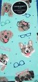 Cynthia Rowley Set of 2 Cotton Kitchen Towels Dogs in Glasses on Teal Pug Pek Golden