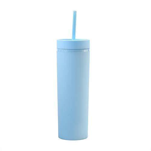 Vasos de acrílico de color pastel mate con tapas y pajitas, delgados, vasos de plástico de doble pared de 16 onzas con limpiador de paja incluido. Taza con pajita, regalo de vinilo, azul cielo