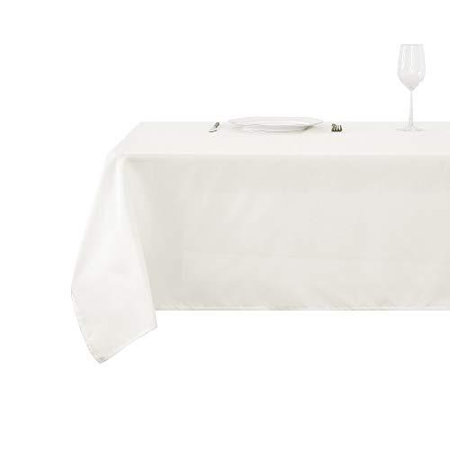 Deconovo Mantel Antimanchas Rectangular Suave Moderno para Mesas 150 x 200 cm Blanco Marfil