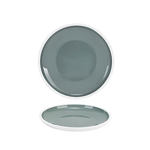 Vajilla Completa Placas de cena de melamina Platos de cena redondos grandes para uso en exteriores y al aire libre Lavavajillas Safe (gris y azul claro) Vajilla ( Color : Gray , Size : 10.91INCH )