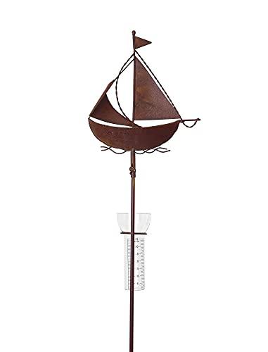 Amicaso maritimer Regenmesser Segelboot Wetterstation Niederschlagsmesser Garten Deko aus Metall/Glas