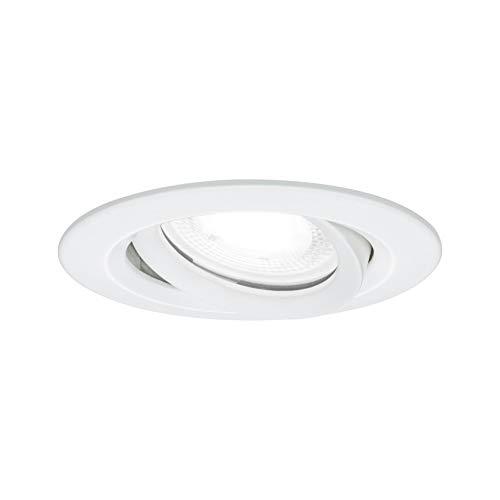 Paulmann Nova Plus 93672 Spot LED encastrable rond et orientable avec 1 x 6 W IP65 à intensité variable Blanc mat 4000 K GU10