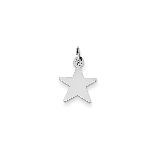 14k White Gold .013 Gauge Engravable Star Pendant Charm Necklace Disc Shaped Fine Jewelry For Women Gifts For Her